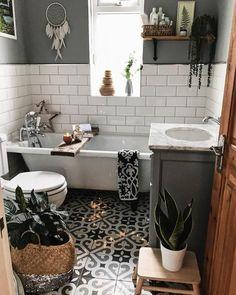 Small Boho Bathroom Design With A Mosaic Tile Floor bathroom decor Bathroom Design Small, Modern Bathroom, Master Bathroom, Minimal Bathroom, Industrial Bathroom, Bathroom Floor Tiles, Tile Floor, Vintage Bathroom Tiles, Bathroom Drawing