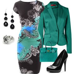 A fashion look from November 2013 featuring etro dresses, cotton blazer and black platform shoes. Browse and shop related looks. Office Outfits, Mode Outfits, Fashion Outfits, Womens Fashion, Fashion Trends, Work Fashion, Modest Fashion, Classy Outfits, Stylish Outfits