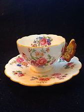 Aynsley Dresden Spray Yellow Butterfly Handle Tulip Mould Tea Cup And Saucer