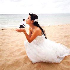"Kissing the ""frog"" :-)  #WeddingPhoto"