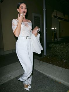 Katy Perry Off-the-Shoulder Top - Katy Perry looked feminine and sophisticated in a white lace off-the-shoulder top by Ryan Roche while out at Bouchon Bistro.