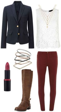 Navy blazer, white lace shirt, burgundy red pants, brown boots, gold necklaces, rings, red lip