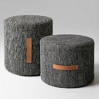 Björk poufs/stool in 100% wool with natural leather handles. Design Lena Bergström (L)