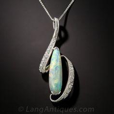 Platinum Opal and Diamond Pendant #opalsaustralia