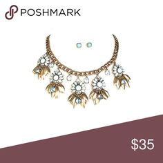 """Ice Blue Statement Necklace & Earring Set NEW - Ice blue statement set in antique gold.  Feminine ice blue floral necklace with matching stud post back earrings. Apprx - 8 1/2"""" length Classic Paper Doll Jewelry Necklaces"""