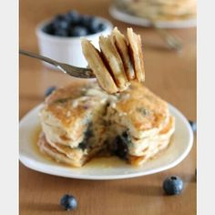 Delecious vegan blueberry pancakes recipe!  What you will need: ~ 1 1/4 all purpose flour ~ 2 tbsp sugar ~ 1 1/2 tsp baking powder ~ 1/2 tsp salt ~ 1/4 tsp cinnamon (optional) ~ 1 1/4 cup non dairy milk ~ 1 tbsp coconut oil, melted ~ 1 banana, mashed ~ 1 cup of fresh blueberries ~ cooking spray (for griddle) ~ maple syrup for topping (optional)  Instructions: ~ in a large mixing bowl, sift together the flour, sugar, baking powder, cinnamon and salt. ~ in a medium bowl, mixes together the non…