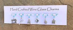 Sewing themed Wine Glass Charms - Gifts for her - Needlecraft - Christmas Gifts - Stocking Fillers -