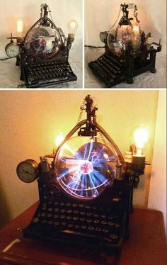 The Victorian Steampunk Computer by Dr. Avius Anakron and the Steampunk mountain crafters Ahhhh, the inventors amongst us.take a look and be inspired! My own ætherathmeric collecting device is still on the drawing board. Lampe Steampunk, Viktorianischer Steampunk, Steampunk Kunst, Steampunk Gadgets, Steampunk Cosplay, Steampunk Design, Steampunk Fashion, Steampunk Emporium, Steampunk Crafts