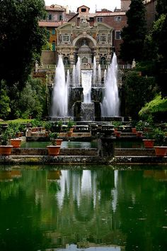 The Villa d'Este is a villa in Tivoli, near Rome, Italy. Beautiful Renaissance architecture and the Italian Renaissance garden. The Villa d'Este was commissioned by Cardinal Ippolito II d'Este, son of Alfonso I d'Este and Lucrezia Borgia and grandson of Pope Alexander VI.