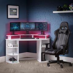 Wooden Corner Desk, White Corner Desk, Wooden Desk, Gaming Desk With Shelves, Corner Gaming Desk, Open Shelving Units, Desk Height, Spare Room, Boy Room