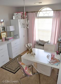 Realistic home office on a budget. No pink