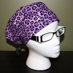 Purple Cheetah Surgical Scrub Hat by FourEyedCreations on Etsy, $15.00