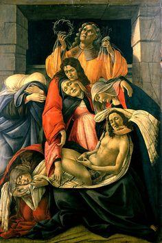 Sandro Botticelli ~ Lamentation over the Dead Christ with Saints at Museo Poldi Pezzoli Milano Italia
