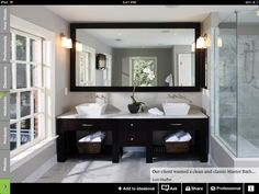Bathroom, Grey Modern Bathroom Design Clean And Classic Master Bath Suite Bathroom Makeover Ideas: Charming Interior Small Bathroom Makeover Ideas Large Bathroom Mirrors, Large Bathrooms, Modern Bathroom, Bathroom Vanities, White Bathroom, Vanity Mirrors, Bathroom Interior, Wall Mirror, Bathroom Cabinets