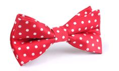 Men's Bow Tie PreTied Red with White Polka Dots X726BT by OTAA, $24.99