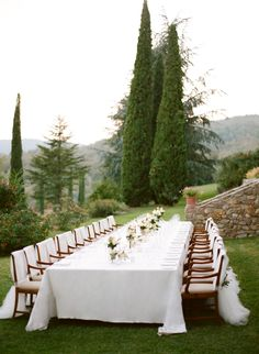 #tablescapes, #outdoor-dinner-party  Photography: Marisa Holmes - www.marisaholmesblog.com  Read More: http://www.stylemepretty.com/2014/08/04/intimate-destination-wedding-in-tuscany/