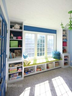 Playroom built-in window seat and