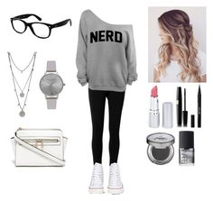 """""""Nerd"""" by fashionista-gurl-1 ❤ liked on Polyvore featuring Max Studio, Converse, Ray-Ban, Vince Camuto, Olivia Burton, HoneyBee Gardens, Stila, Urban Decay and NARS Cosmetics"""