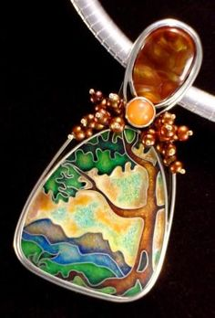 """""""Blue Ridge Sunset"""" Pendant - could handpaint centerpieces to be enhanced with beads"""