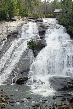 High Falls, Little River, DuPont State Forest, North Carolina- Hunger Games were filmed here! Nc Mountains, North Carolina Mountains, Oh The Places You'll Go, Places To Travel, Places To Visit, Beautiful Waterfalls, Beautiful Landscapes, Dupont State Forest, Nature Landscape