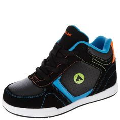 He'll love this mid top skate shoe from Airwalk! It features a faux suede and faux tumbled leather upper accented with contrast stitching, laces for good fit, padded collar and tongue, mesh lining, padded insole, and a non-marking, skid-resistant outsole. Manmade materials.