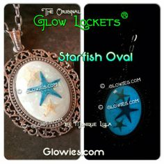 Glow in the dark starfish cabochon pendant by Monique Lula for Glow Mermaid