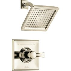 Delta Dryden Modern Square 14 Series Polished Nickel Finish Single Handle Shower Only Faucet INCLUDES Rough-in Valve with Stops D1215V