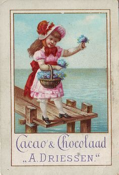 CHROMO CACAO DRIESSEN - GIRL WITH BASKET OF FLOWERS   par patrick.marks