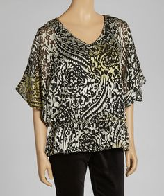 Take a look at this Gold & Ivory Floral Top by eci New York on #zulily today!