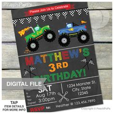 """► DIGITAL INVITATION: (File 1) Monster Truck ------------------------------------------------------------------------ •Size: single 5"""" x 7"""" JPG or 2-up PDF •Includes Front Side Only •High Resolution of 300dpi"""