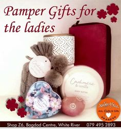 Pamper gifts for ladies: Bath salts Fragrant soaps Scented candles Trinkets Mini pamper hampers & Novelty gifts #amberafrica #pampergifts #ladies