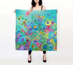 Women Accessories: Kunst-Schal Inner Circle  100 % Seide Schal  von ArtfullyFeathered
