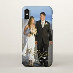 Wedding Photo Best Day Ever Couples Gold Overlay iPhone X Case - anniversary cyo diy gift idea presents party celebration