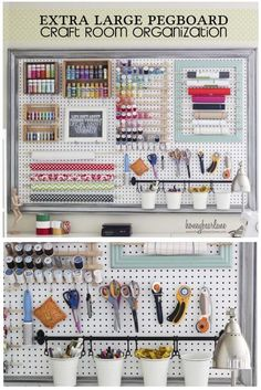 Extra Large Pegboard for Craft Room Organization. Extra Large Pegboard for Craft Room Organization Extra Large Pegboard for Craft Room Organization: Check out this fun and super organized pegboard that I put together for my craft supplies! Large Pegboard, Pegboard Craft Room, Sewing Room Organization, Craft Room Storage, Kitchen Pegboard, Craft Rooms, Pegboard Display, Tool Storage, Office Organization