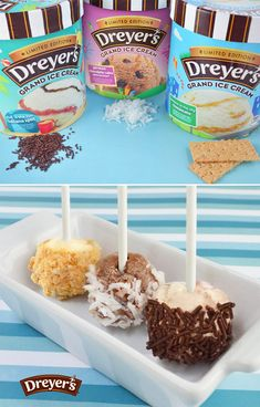 These pops are a simple, bite-sized way to enjoy all three Dreyer's Summer Limited Edition Flavors. Use a little scoop to make the balls, insert a stick and roll in a tasty topping. We love coconut for the German Chocolate Cake ice cream, graham crackers for the Cheesecake, and chocolate sprinkles for Banana Split!