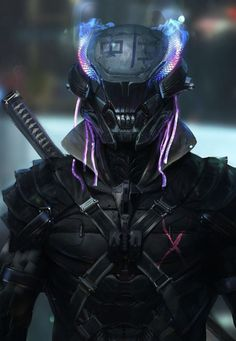 A genre of science fiction and a lawless subculture in an oppressive society dominated by computer technology and big corporations. Cyberpunk Kunst, Cyberpunk 2077, Robot Concept Art, Armor Concept, Robot Art, Fantasy Armor, Dark Fantasy Art, Fantasy Character Design, Character Art