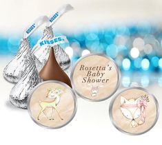 These small Woodland Hershey kiss labels are perfect for your baby shower or birthday party. The set includes 3 different designs. You will receive 108 printed labels, 36 of each design. A customized message is printed onto ONE of the designs. Just tell me at checkout what you would Unicorn Birthday Parties, Birthday Party Favors, Hersey Kisses, Round Labels, Baby Shower Gender Reveal, Woodland Baby, Printing Labels, Reveal Parties, Gift Tags