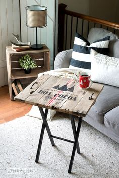 Christmas themed hot cocoa TV tray, from pallet wood and Funky Junk's Old Sign Stencils | funkyjunkinteriors.net