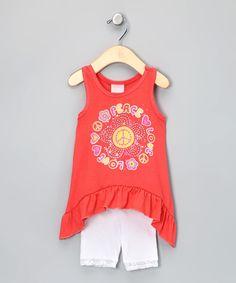 Look at this #zulilyfind! Nannette Orange 'Peace' Sidetail Tank & Shorts - Infant & Toddler by Nannette #zulilyfinds. $12.99
