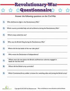 Revolutionary War Trivia Worksheet