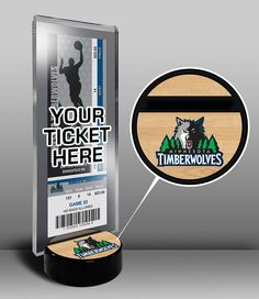 Minnesota Timberwolves Ticket Display Stand - Team Logo or My First Game