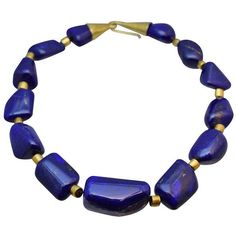 Preowned Lapis Lazuli Necklace ($7,900) ❤ liked on Polyvore featuring jewelry, necklaces, multiple, preowned jewelry, pre owned jewelry, lapis lazuli jewelry, 18 karat gold jewelry and hook necklace