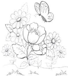 pintura-em-tecido risco tulipa e borboleta