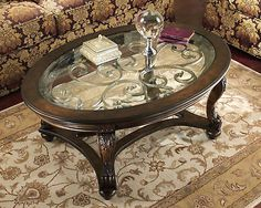 VIKING-TRADITIONAL OVAL WOOD & GLASS COCKTAIL COFFEE TABLE LIVING ROOM FURNITURE