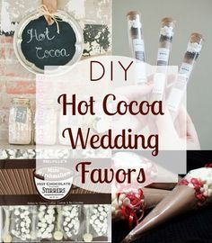 ideas to save money on your budget by making your own hot cocoa favors for fall or winter time weddings!