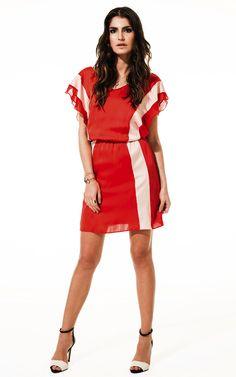 Lookbook Raizz Primavera-Verão 14 - Vestido em cetim e chiffon vermelho,m  com recortes nude