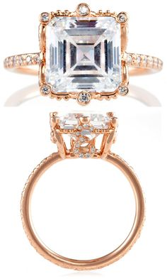 "The Erica Courtney ""Ellen"" ring in rose gold and diamonds.  Via Diamonds in the Library."
