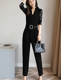 ea334a0852 Women s Daily   Work Basic   Street chic V Neck Black Red Navy Blue Slim  Romper