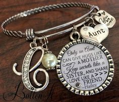 Aunt gift, GIFTS for Aunt, Aunt bracelet, Only an aunt can give hugs like a mother, Christmas gift,  Aunt to be, PERSONALIZED jewelry by buttonit on Etsy