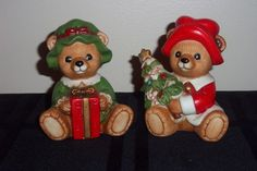 Homco Home Interiors Ceramic Christmas Bears #5175 Excellent Condition Green Red